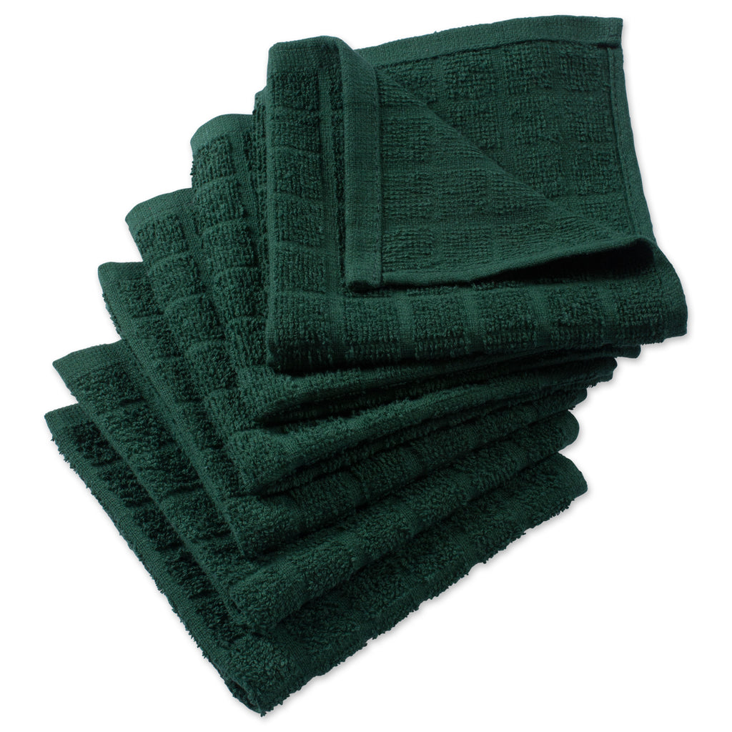 Solid Dark Green Windowpane Terry Dishcloth Set/6