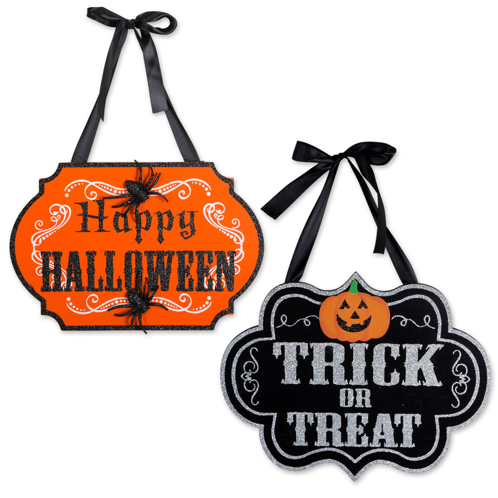 Trick Or Treat & Happy Halloween Hanging Signs Set/2