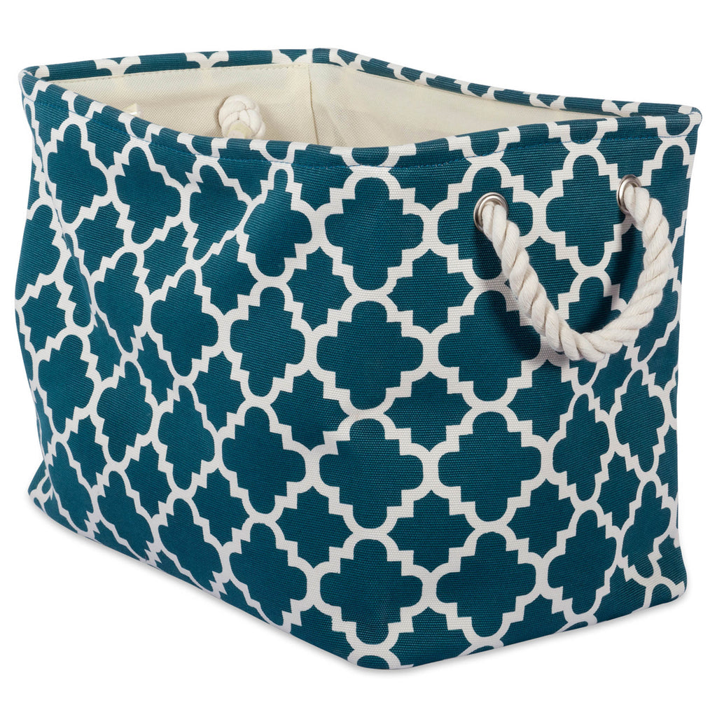 Polyester Bin Lattice Teal Rectangle Large 17.5x12x15