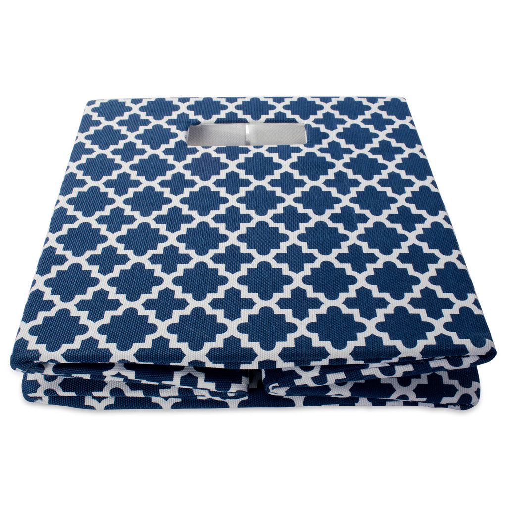 DII Polyester Cube Lattice Nautical Blue Square
