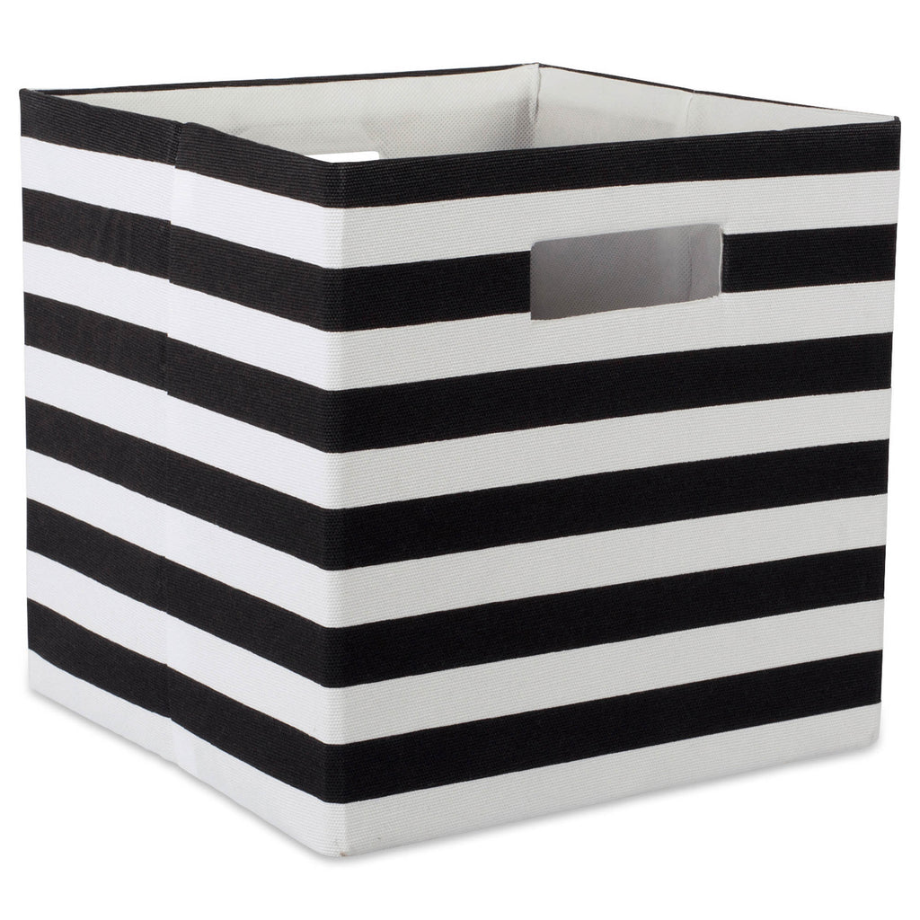 Polyester Cube Stripe Black Square 13x13x13
