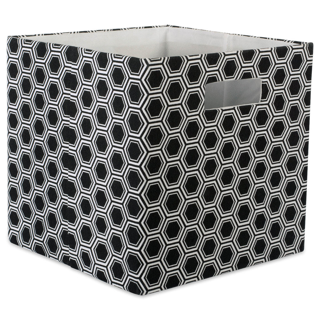 Polyester Cube Honeycomb Black Square 11x11x11