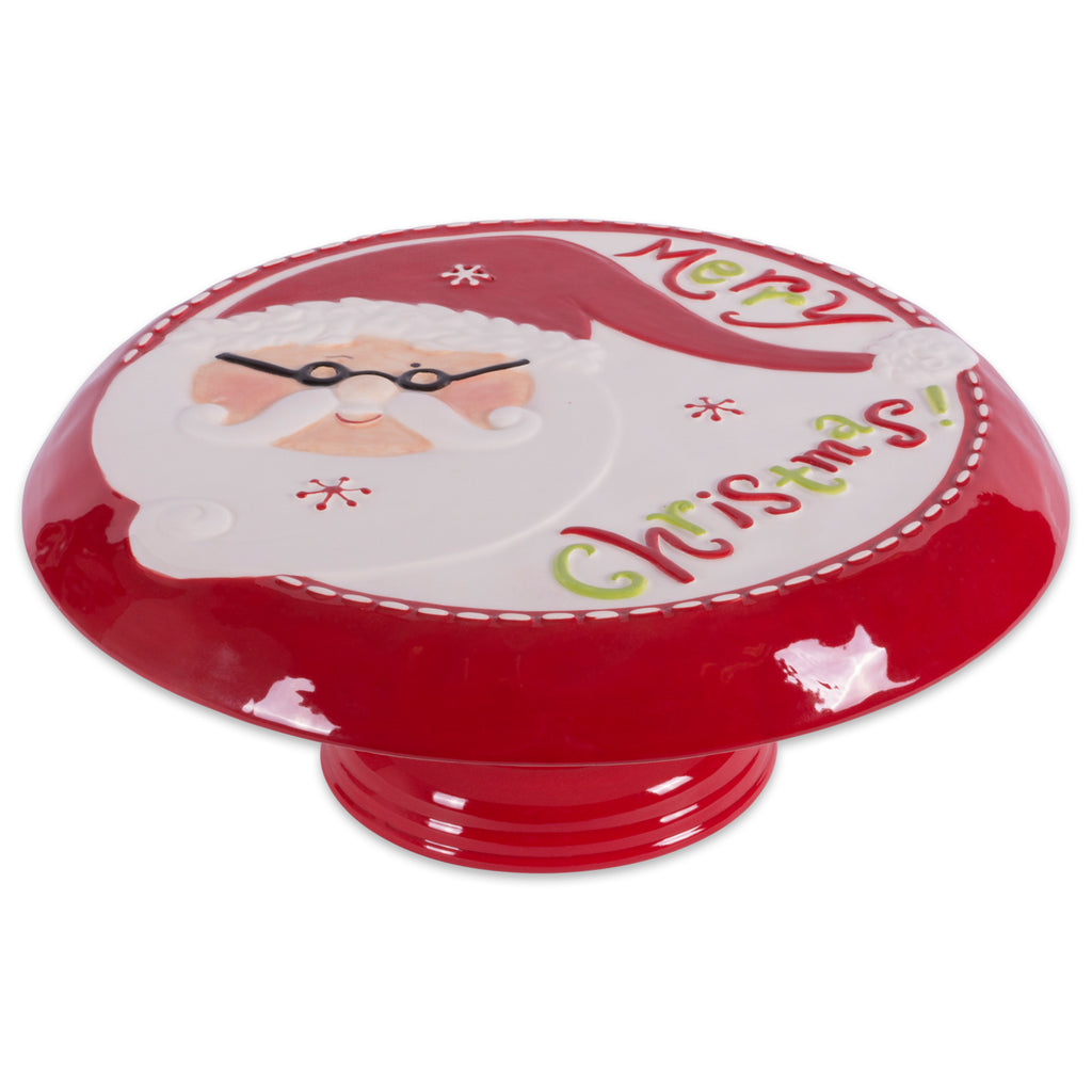 Ceramic Santa Cake Plate With Stand