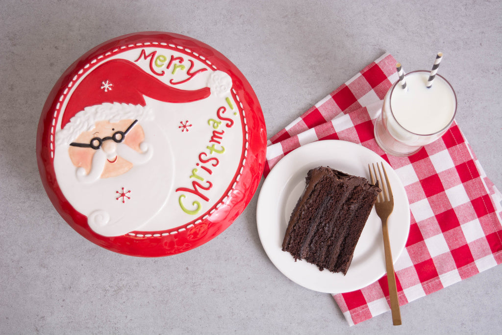 DII Ceramic Santa Cake Plate With Stand