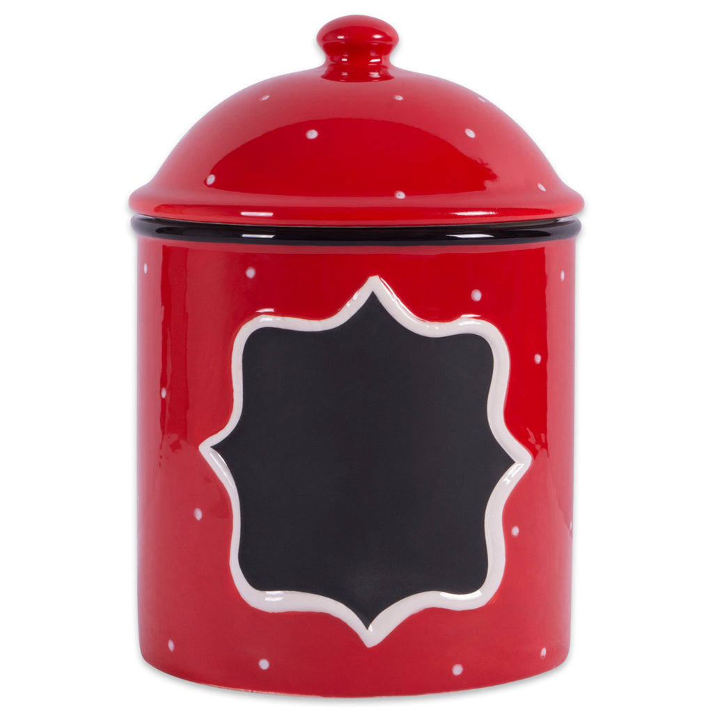 Ceramic Red Canister Large
