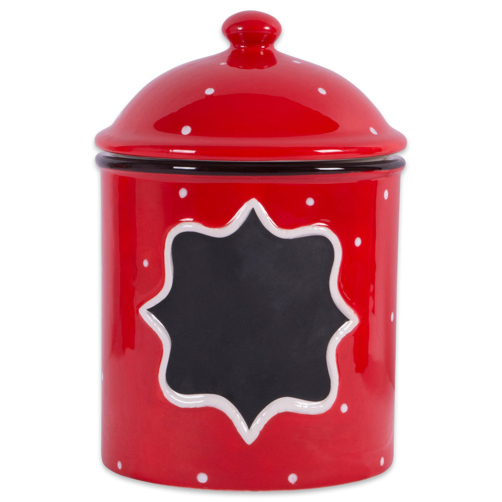Ceramic Red Canister Medium