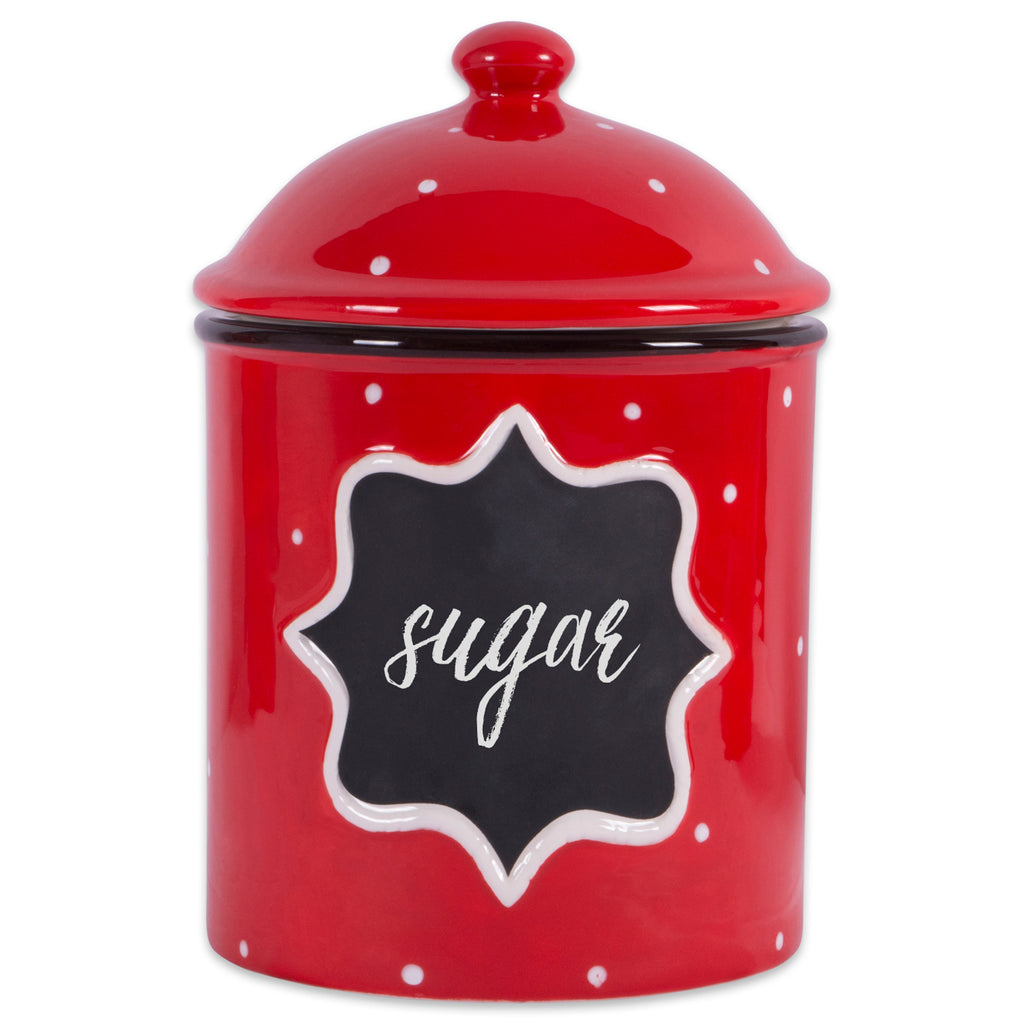 DII Ceramic Red Canister Medium