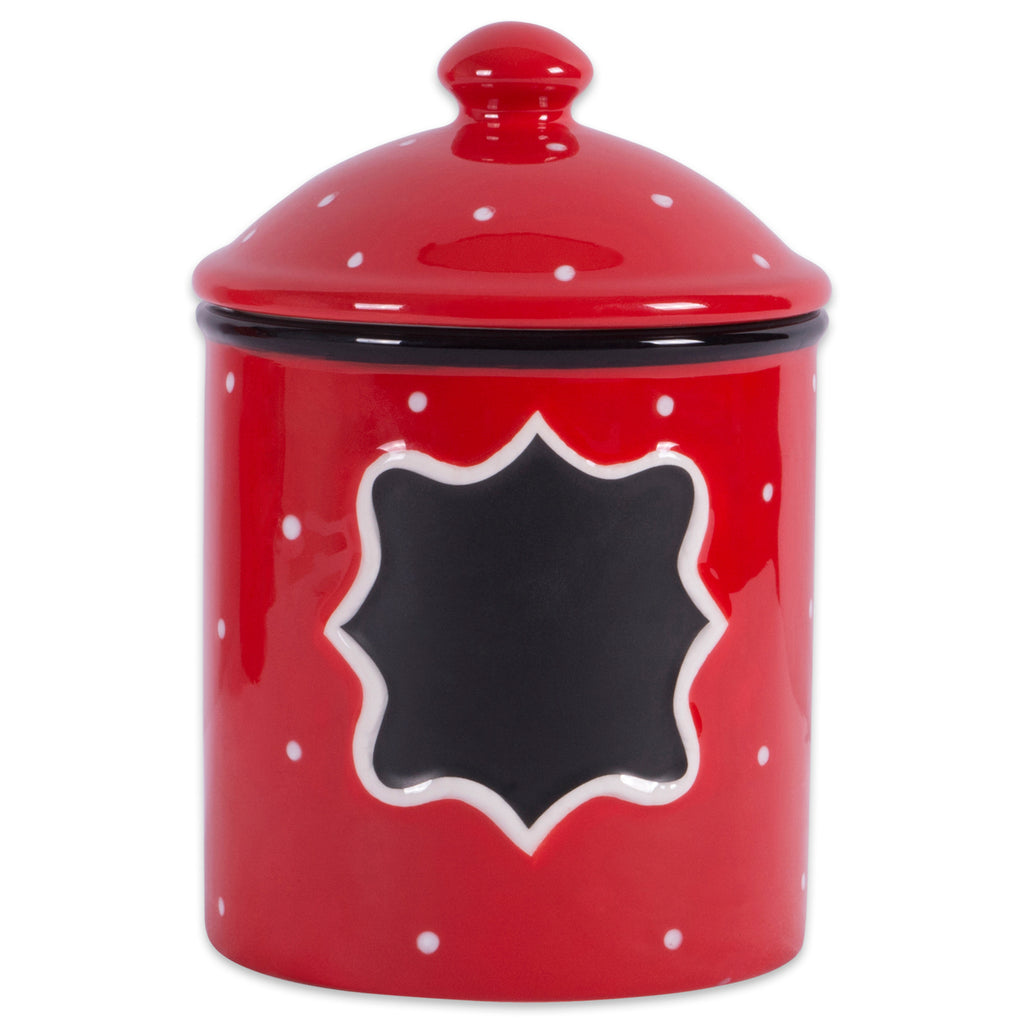 Ceramic Red Canister Small