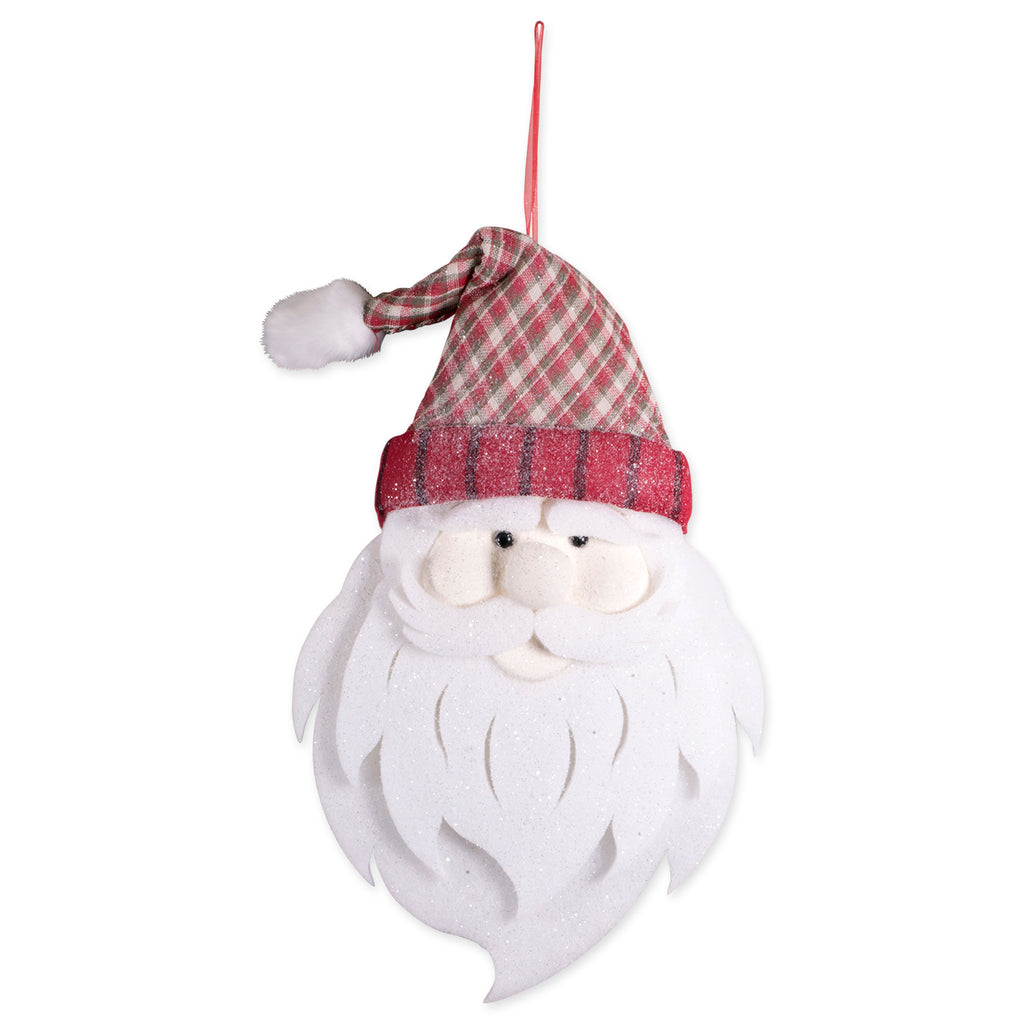 Hanging Foam Santa With Plaid Hat