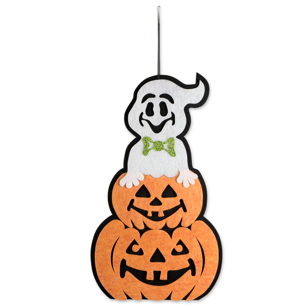 Hanging Foam Ghost With Pumpkin