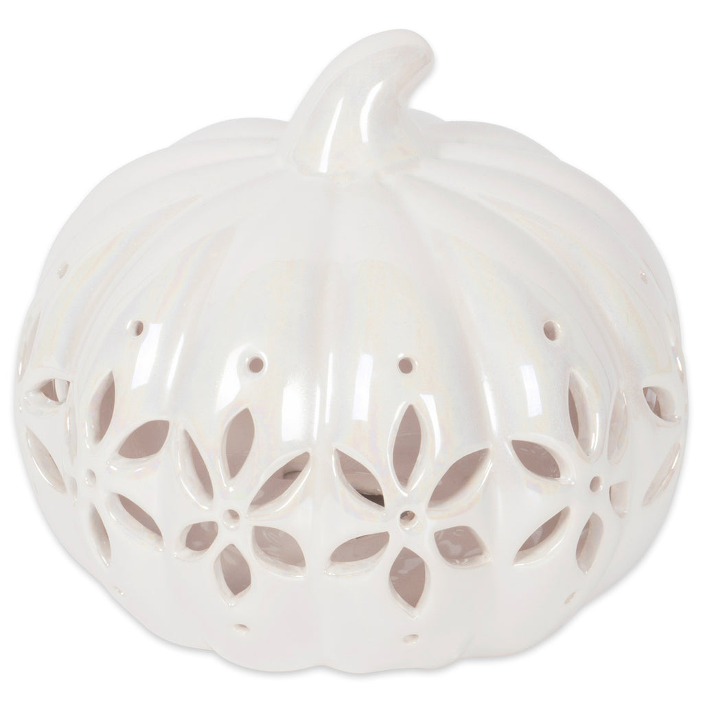 Short Pearl White Pumpkin With Flower Lantern