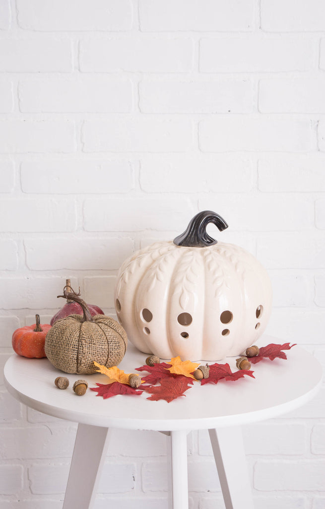 DII White Large Pumpkin With Leaves Lantern