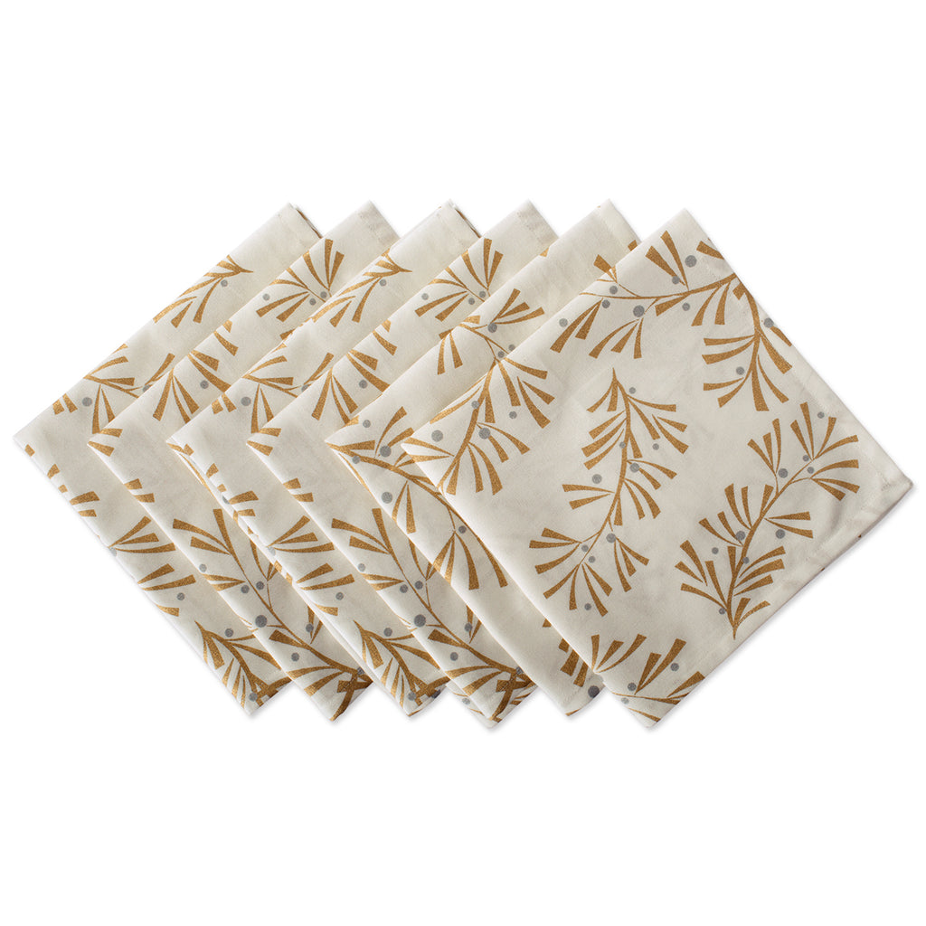 Metallic Holly Leaves Napkin Set/6
