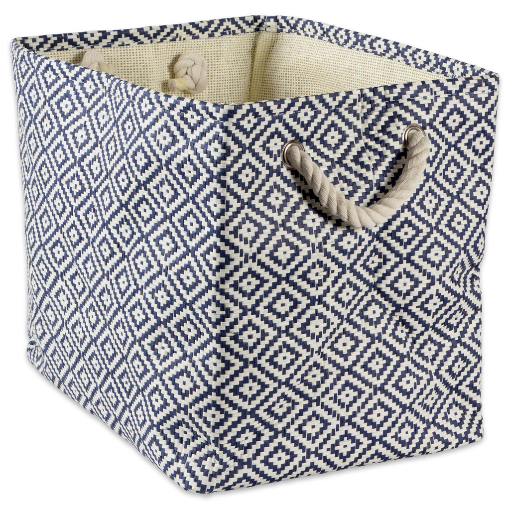 Paper Bin Geo Diamond  Nautical Blue Rectangle Small 11x10x9