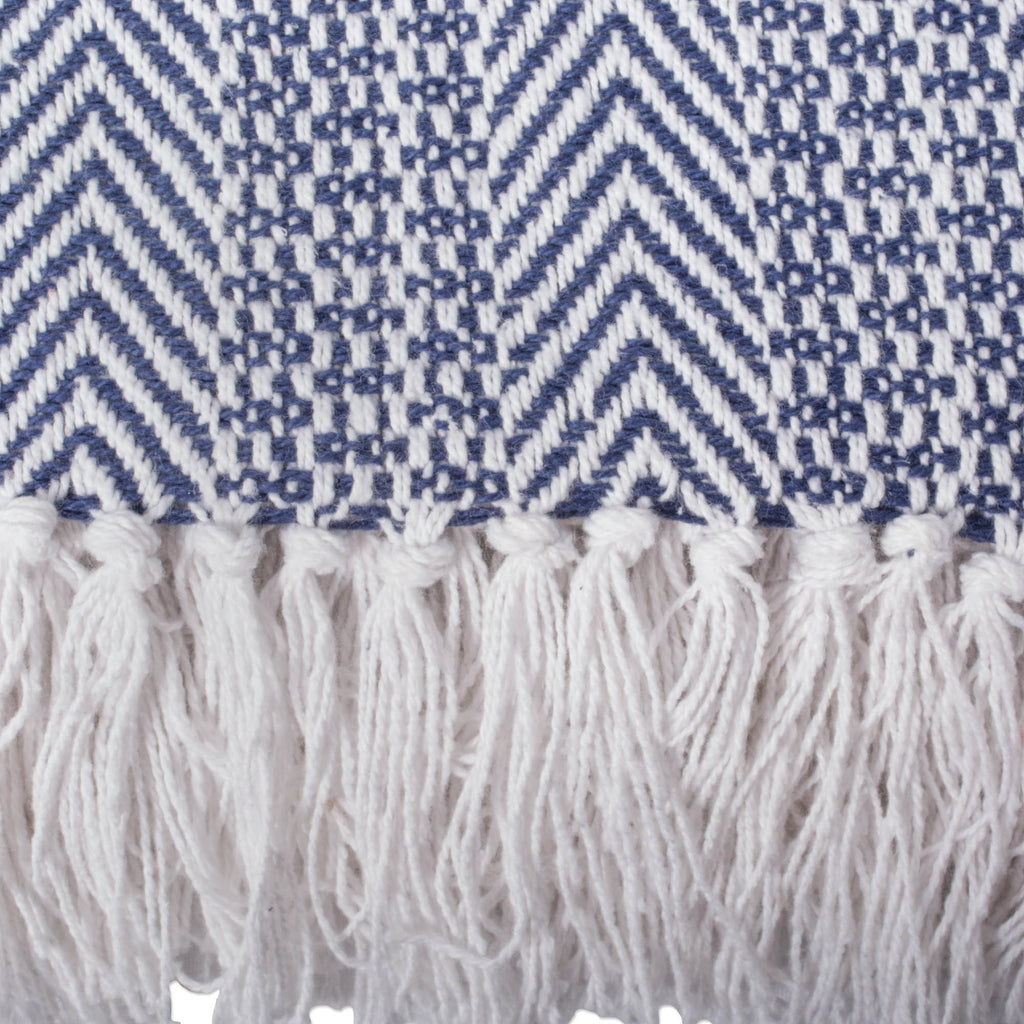 DII Nautical Blue Herringbone Stripe Throw