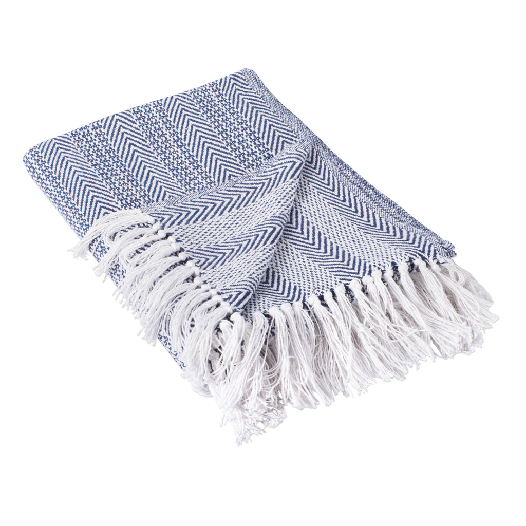 Nautical Blue Herringbone Stripe Throw