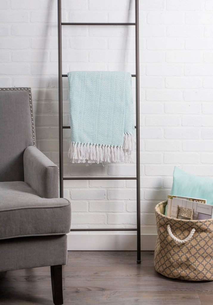 DII Aqua Herringbone Stripe Throw