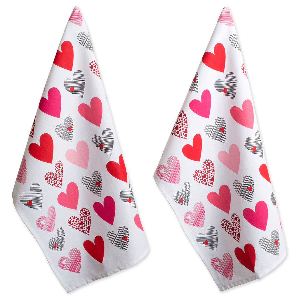Hearts Collage Printed Dishtowel Set/2