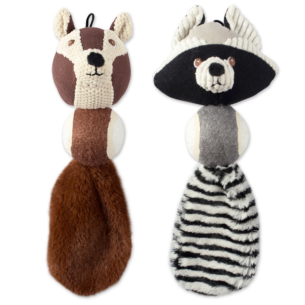 Squirrel & Raccoon Ball With Squeaker Pet Toy Set/2