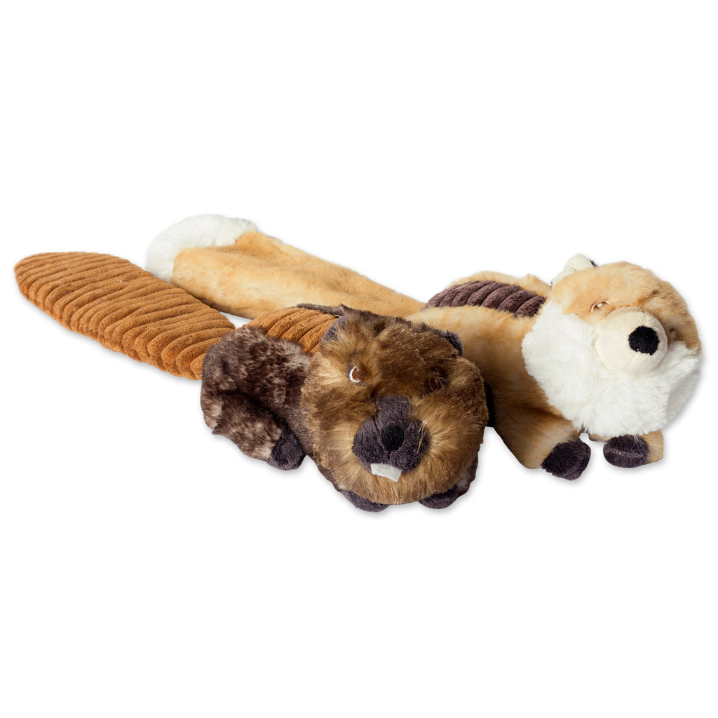 Beaver & Fox Plush Squeaker Pet Toy Set/2