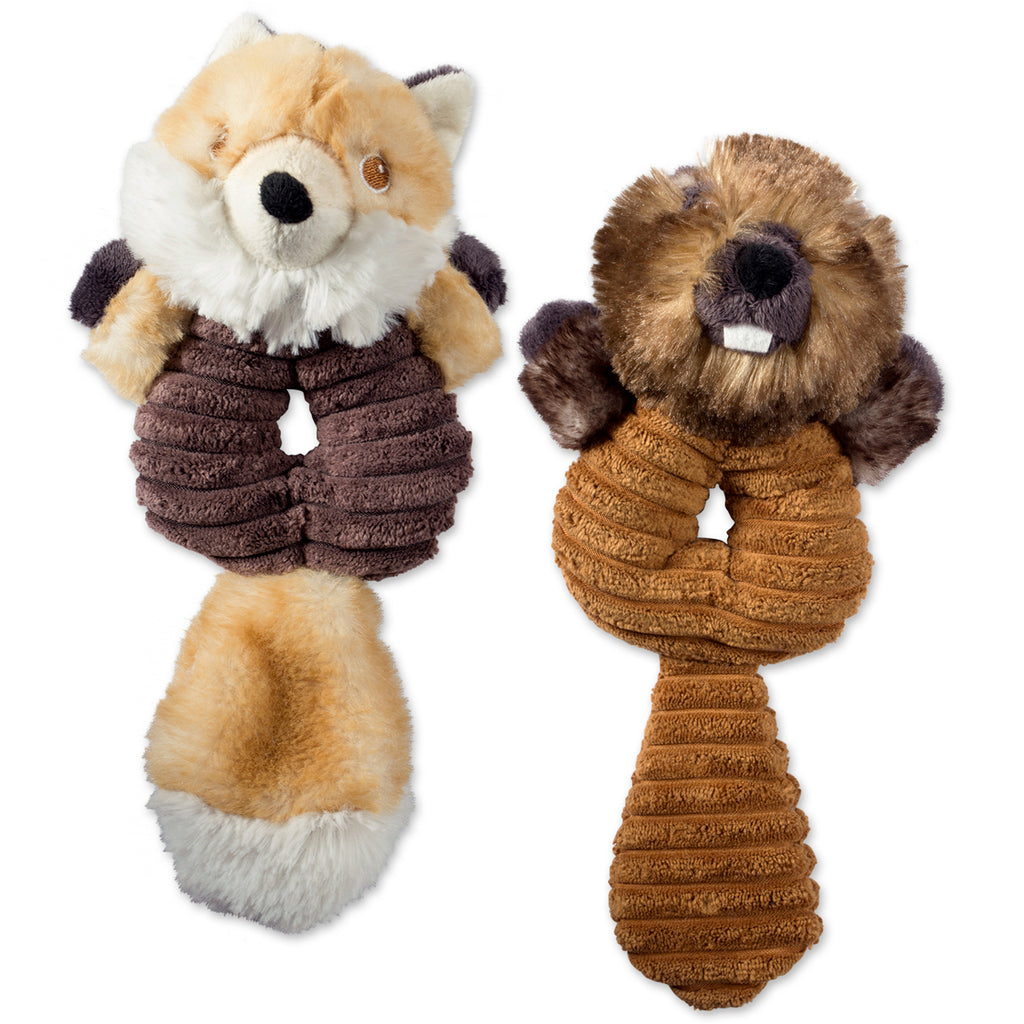 Beaver & Fox Plush Ring With Squeaker Pet Toy Set/2