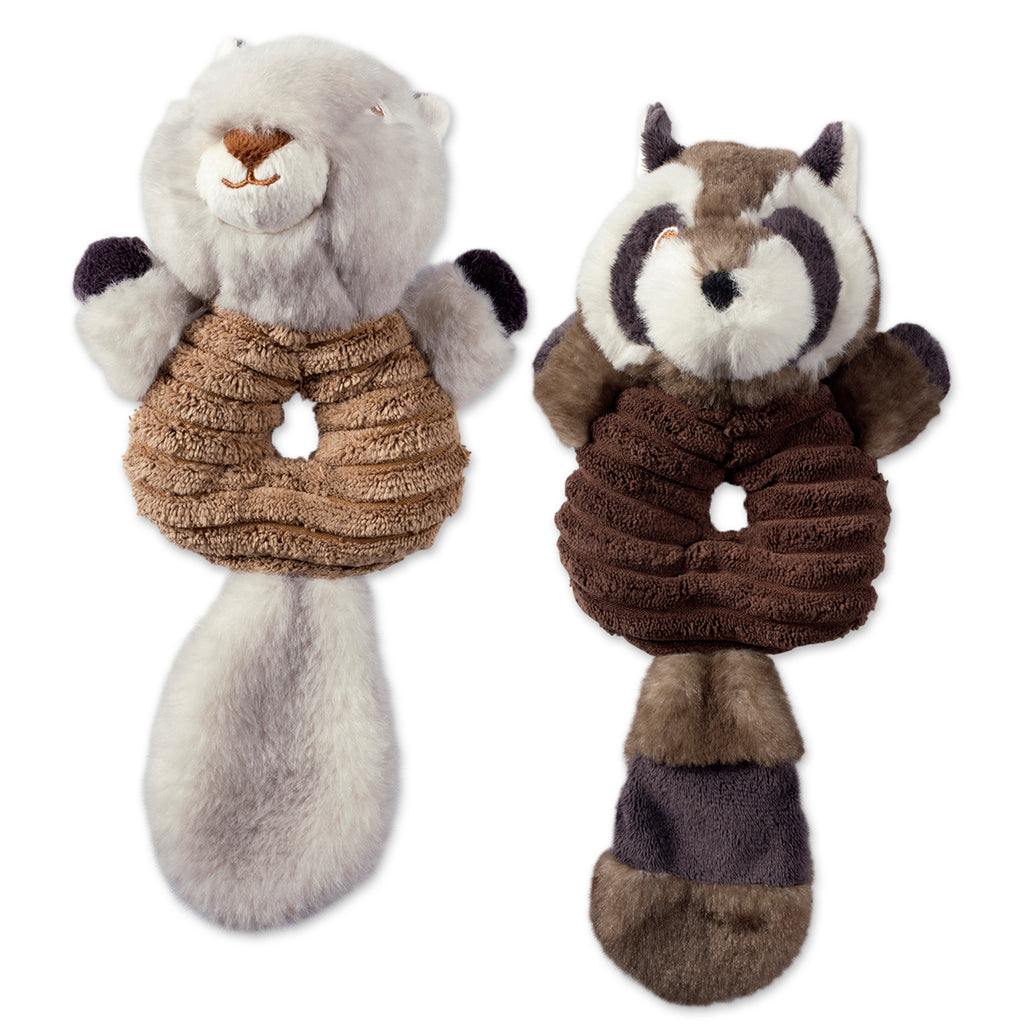 Squirrel & Raccoon Plush Ring With Squeaker Pet Toy Set/2