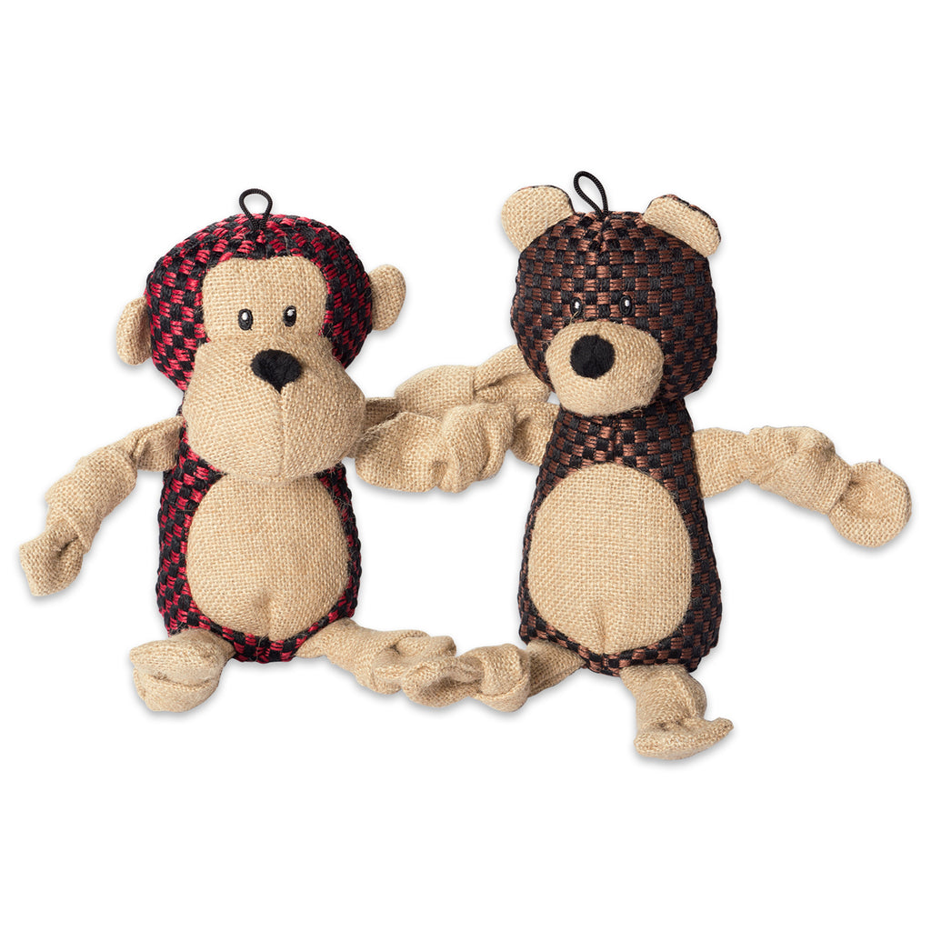 Bear & Monkey With Squeaker Burlap Pet Toy Set/2