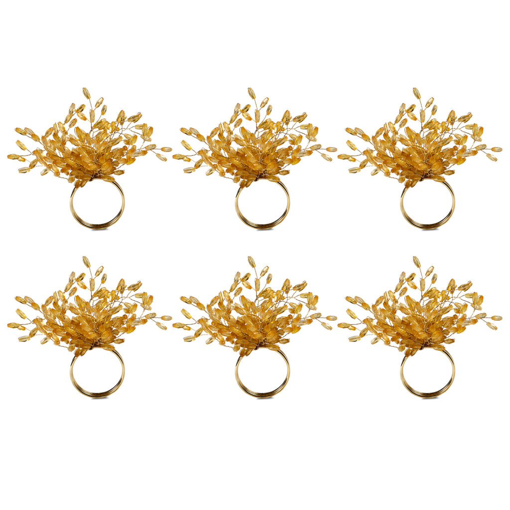 Gold Beaded Burst Napkin Ring Set/6