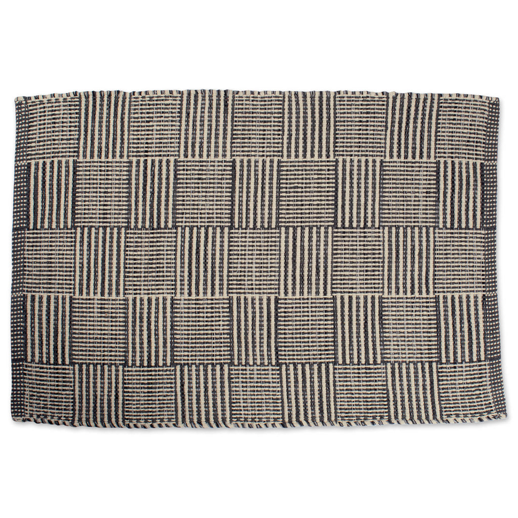 Gray Squares Recycled Yarn Rug 2x3 Ft