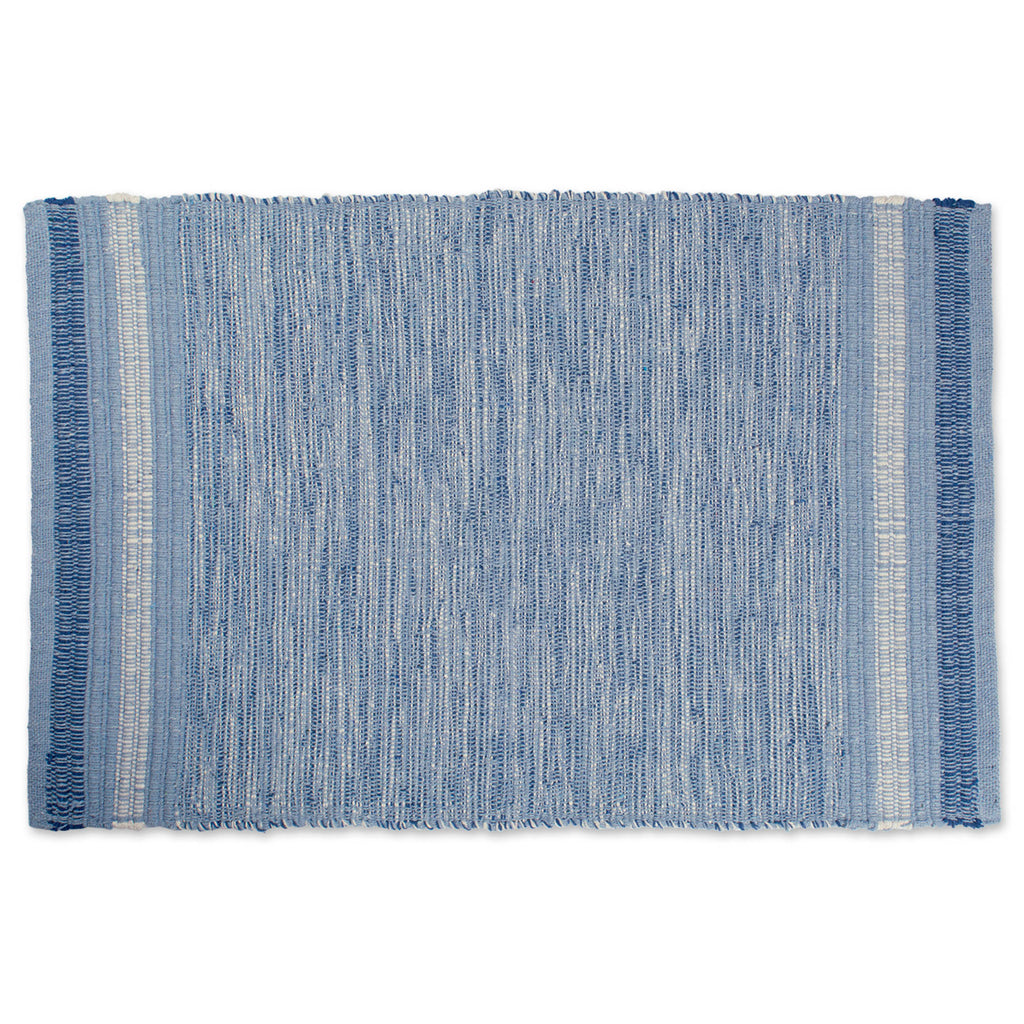 Varigated Blue Recycled Yarn Rug 2x3 Ft