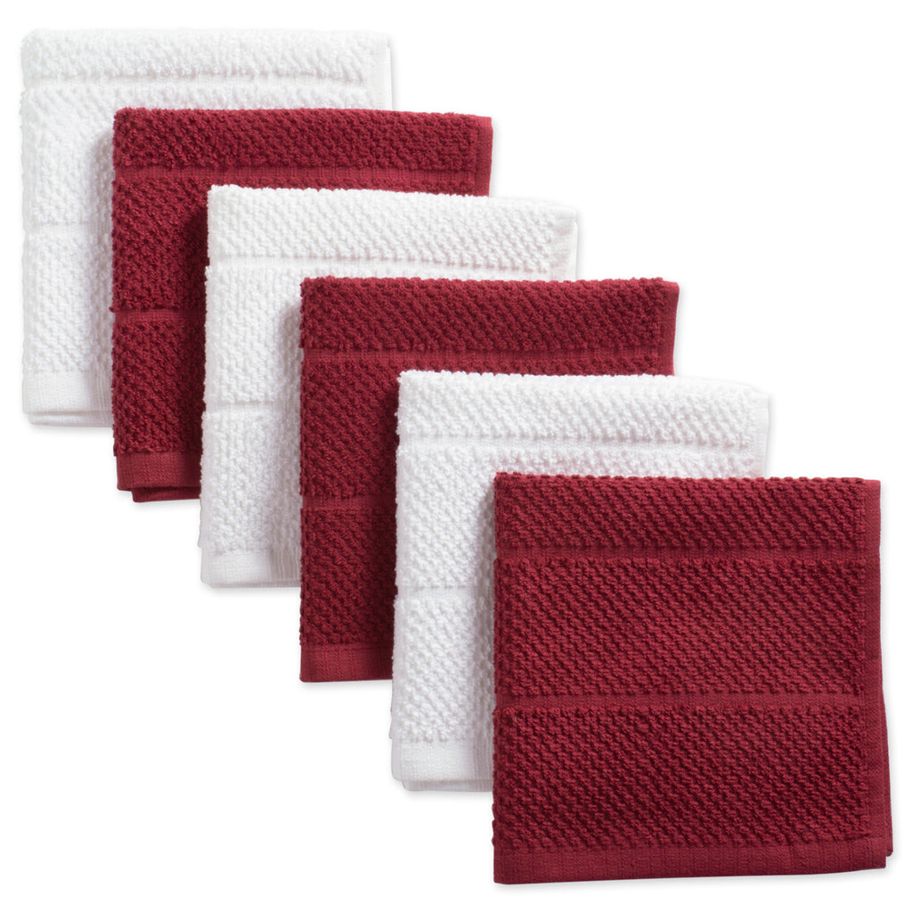 Asst Barn Red Basic Chef Terry Dishcloth Set/6