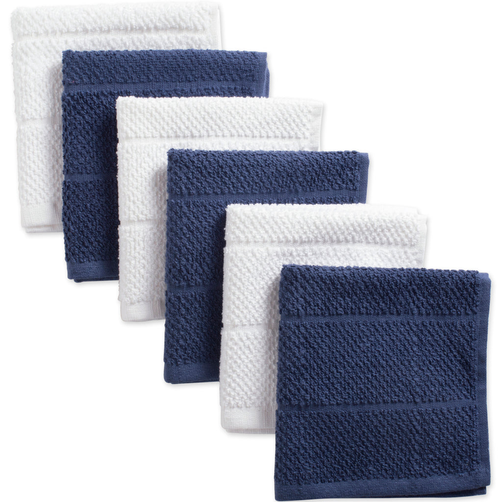 Asst French Blue Basic Chef Terry Dishcloth Set/6