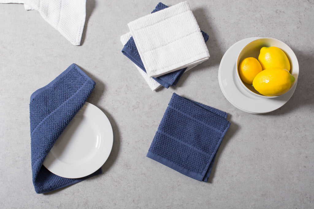 DII Assorted French Blue Basic Chef Terry Dishcloth (Set of 6)