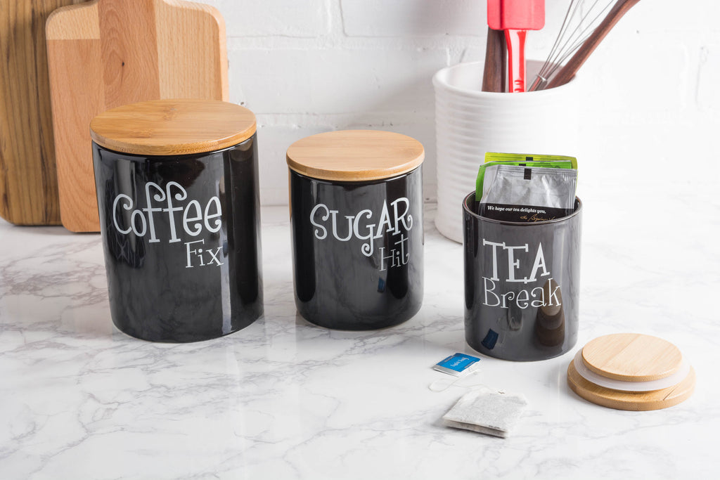 DII Black Coffee/Sugar/Tea Ceramic Canister (Set of 3)
