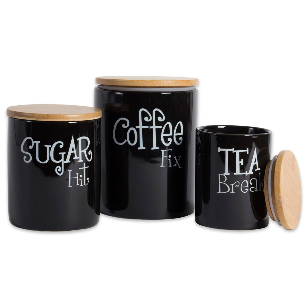 Black Coffee/Sugar/Tea Ceramic Canister Set/3