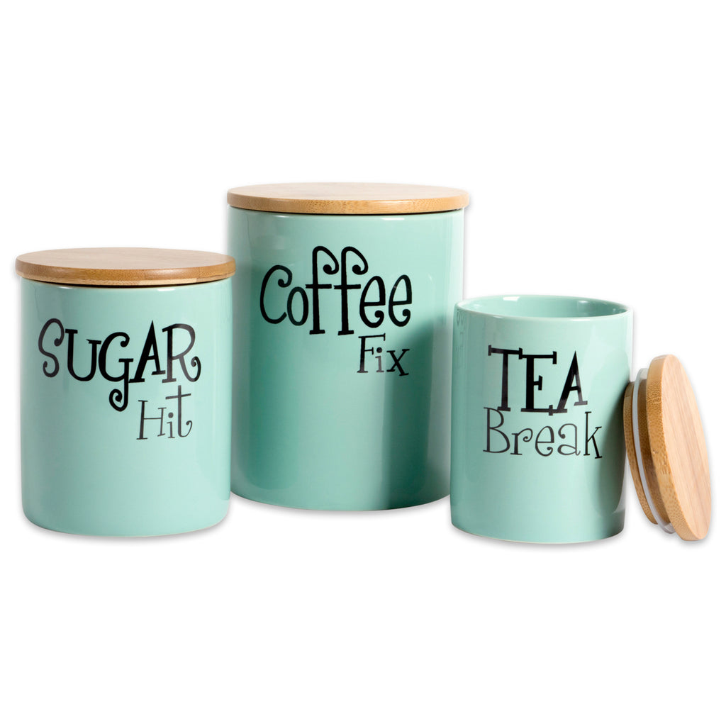 Aqua Coffee/Sugar/Tea Ceramic Canister Set/3