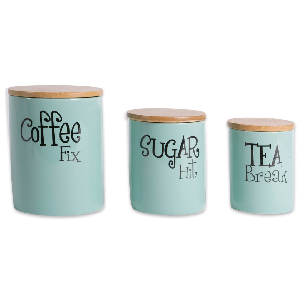 DII Aqua Coffee/Sugar/Tea Ceramic Canister (Set of 3)