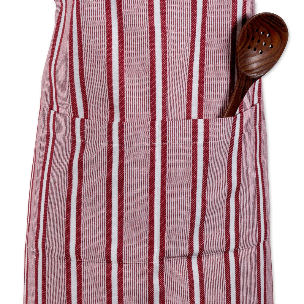 DII Barn Red Chef Stripe Chef Apron