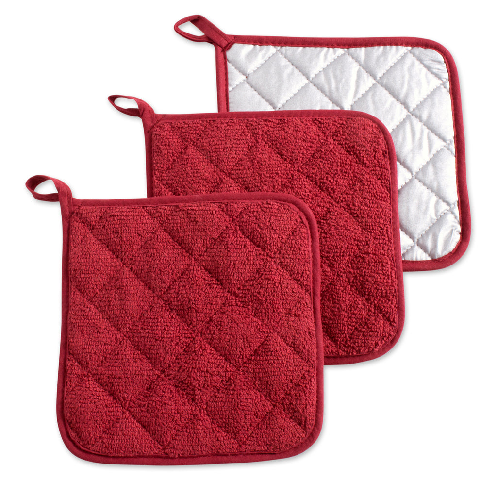 Barn Red Terry Potholder Set/3