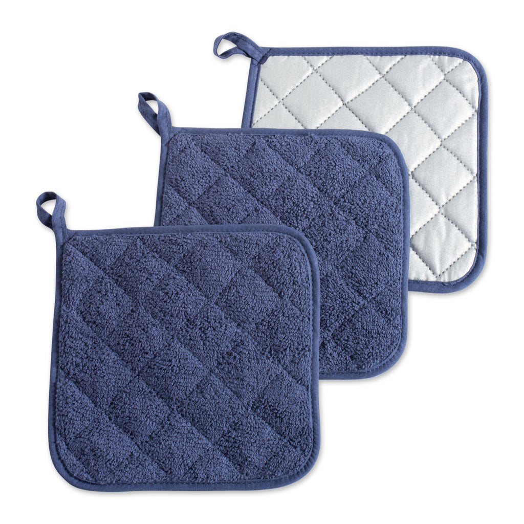 French Blue Terry Potholder Set/3