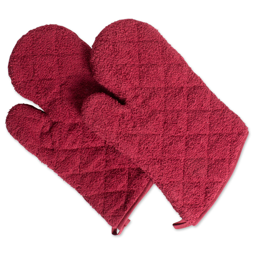 Barn Red Terry Oven Mitt Set/2