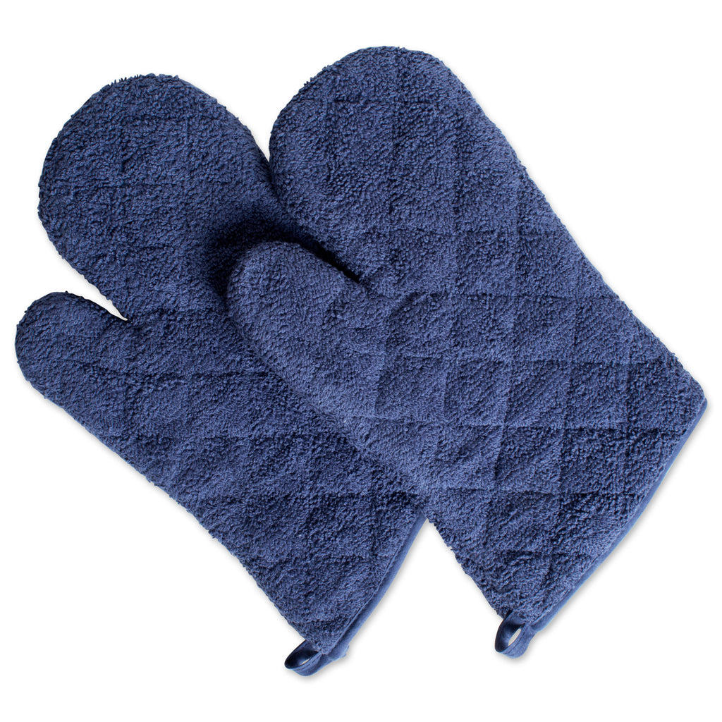French Blue Terry Oven Mitt Set/2