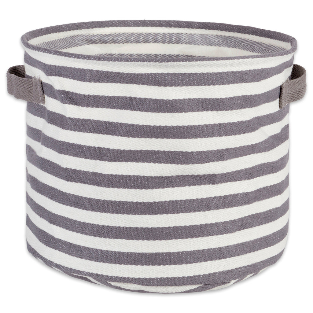 Pe Coated Herringbone Woven Cotton Laundry Bin Stripe Gray Round Small 9.5x9.5x8 Set/2