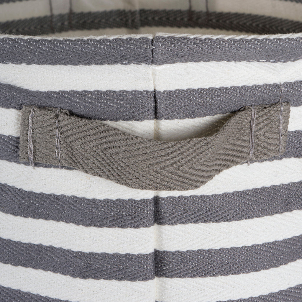 DII Pe Coated Herringbone Woven Cotton Laundry Bin Stripe Gray Round Small (Set of 2)