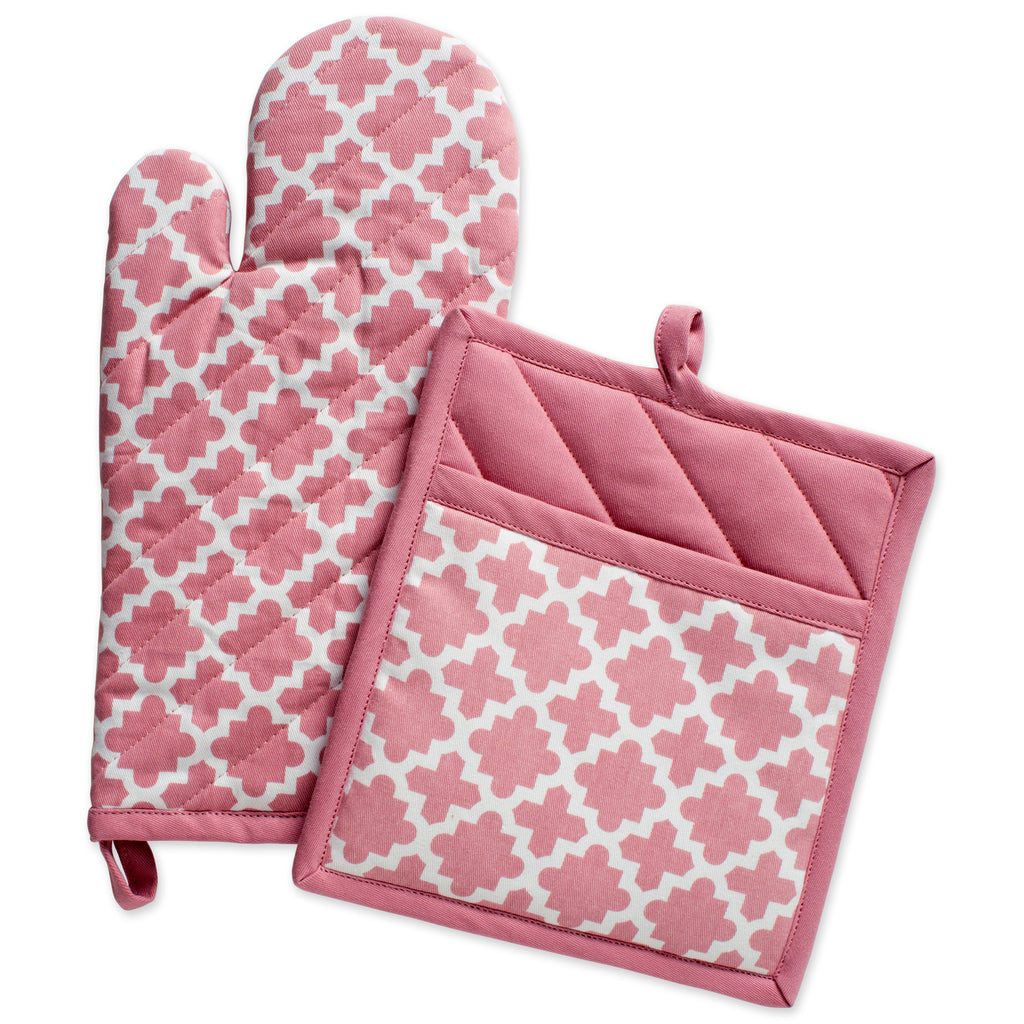 Rose Lattice Oven Mitt & Potholder Set