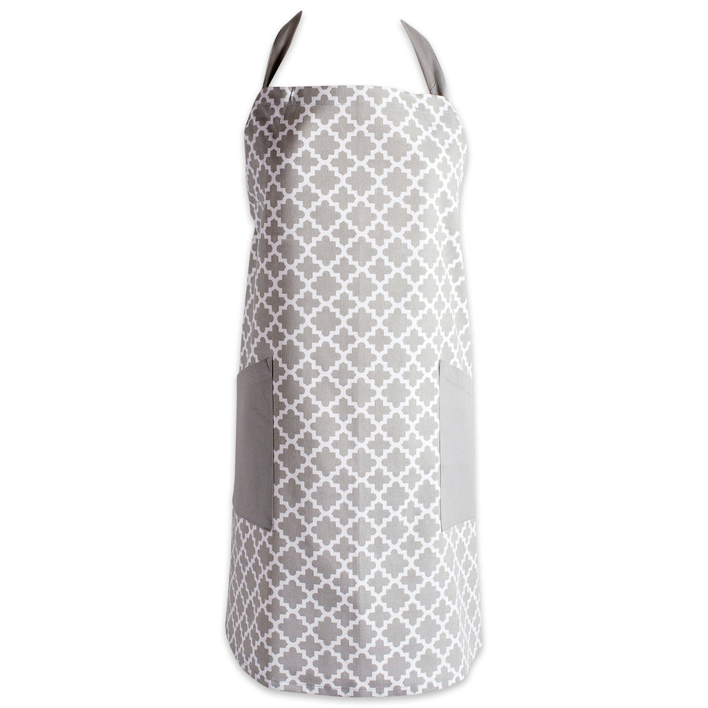 Gray Lattice Print 2-Pocket Apron