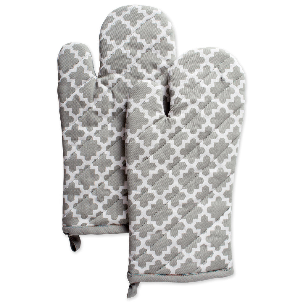 Gray Lattice Oven Mitt Set/2