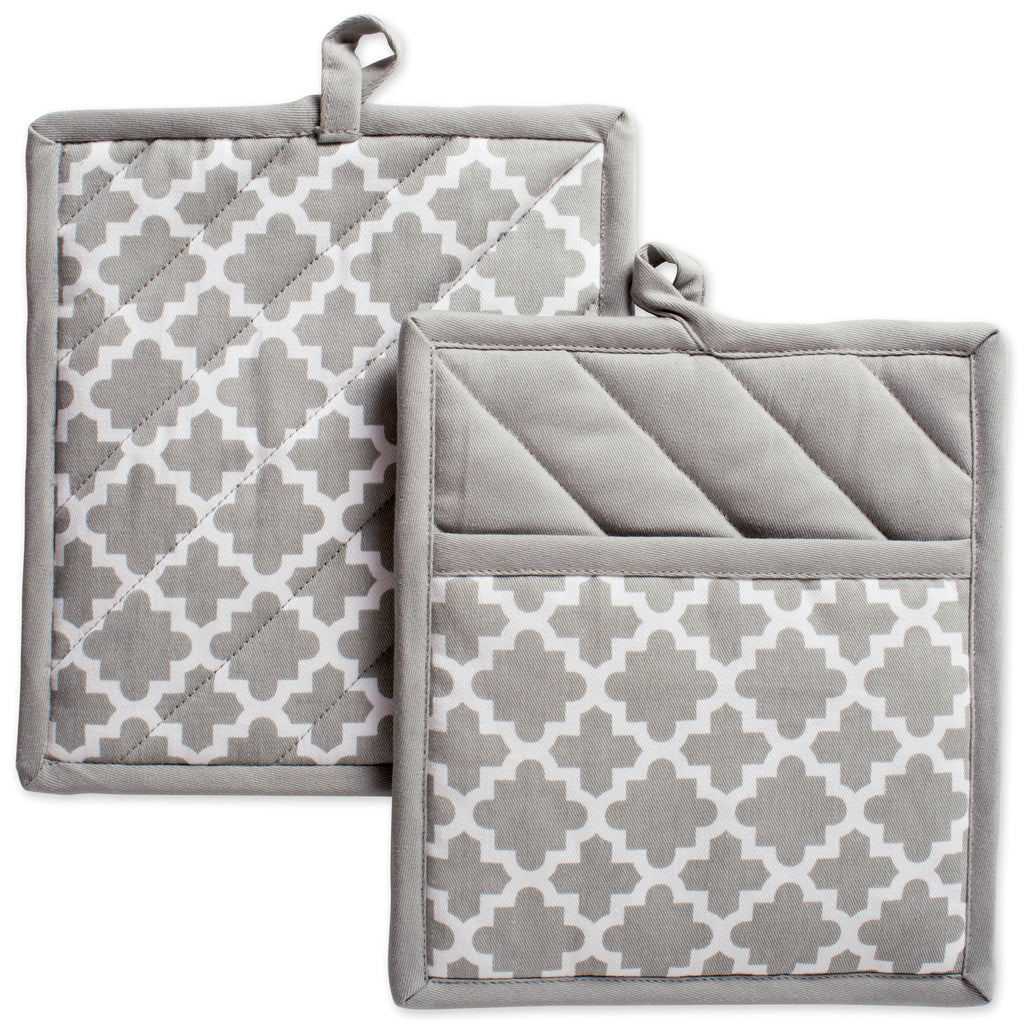 Gray Lattice Potholder Set/2