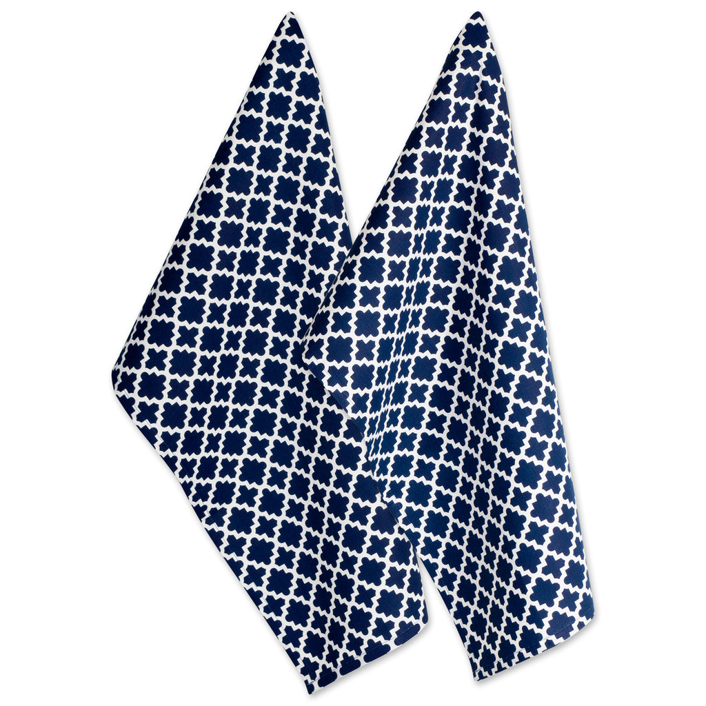 Nautical Blue Lattice Dishtowel Set/2
