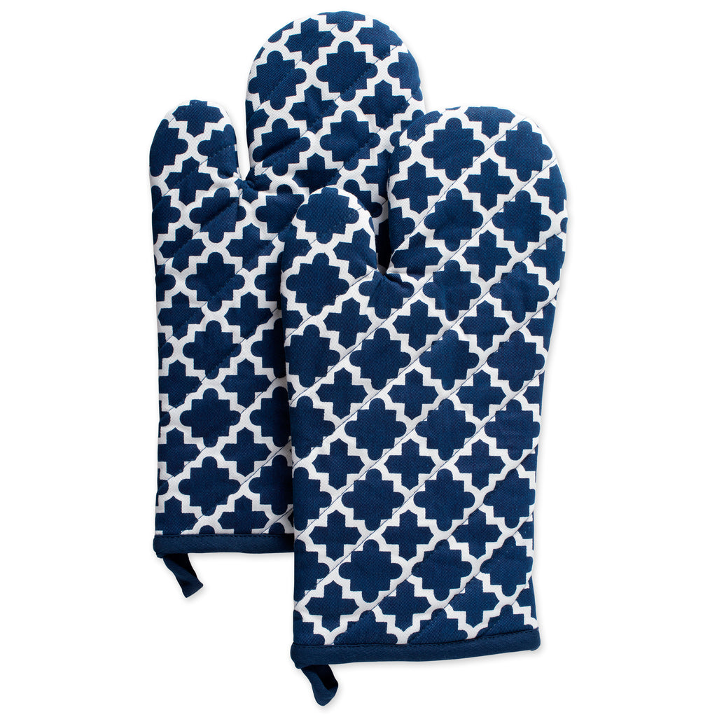 Nautical Blue Lattice Oven Mitt Set/2
